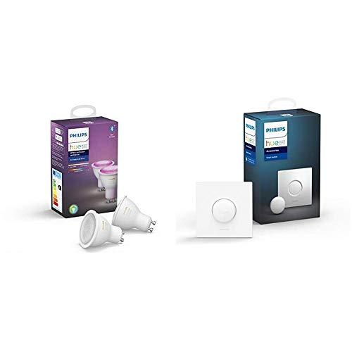 Philips Hue White and Color Ambiance - Paquete de 2 Bombillas LED Inteligentes GU10, Compatible con Bluetooth y Zigbee, Puente Hue Opciona + Botón/Interruptor Smart Button