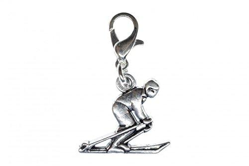 Miniblings Skifahrer Winter Charm Ski Skier Skikurs Silber - Handmade Modeschmuck I Kettenanhänger versilbert - Bettelanhänger Bettelarmband - Anhänger für Armband