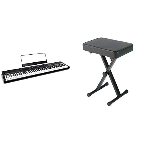 Alesis Recital | 88 Key Beginner Digital Piano/Keyboard with Full Size Semi Weighted Keys & YAMAHA PKBB1 Adjustable Padded Keyboard X-Style Bench, Black,19.5 Inches
