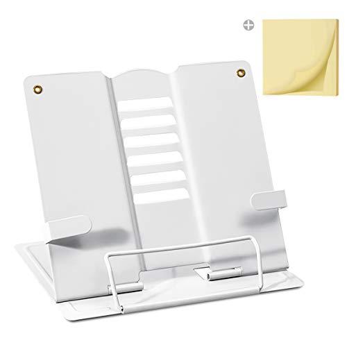 Palumma ブック スタンド 書見台 ブック スタンド 卓上 読書 スタンド 鉄製 より耐久性 広げて厚く 折畳み 肩こり解消 目の保護 ポストイット付き (ホワイト)