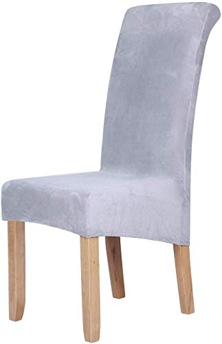 Velvet Stretch Dining Chair Slipcovers - Spandex Plush Short Chair Covers Solid Large Dining Room Chair Protector Home Decor Set of 4, Light Grey