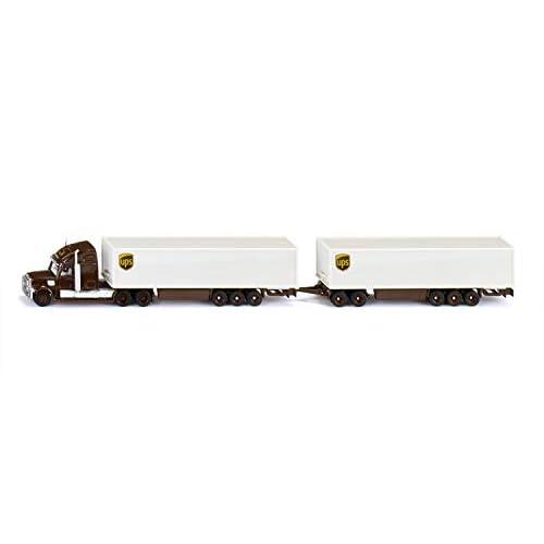 Siku 1806 Road Train, Trattore stradale con semirimorchio e rimorchio, 1:87, Metallo/Plastica, Marrone/Bianco