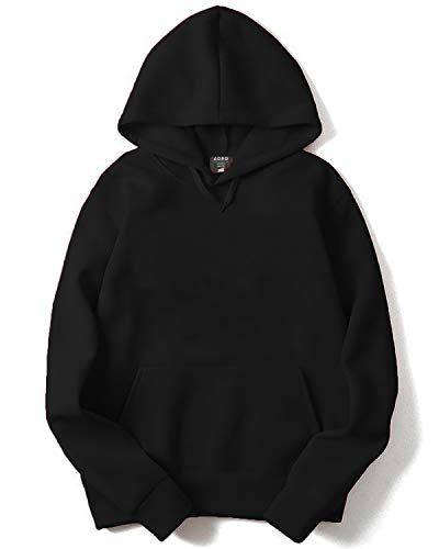 ADRO Plain Hoodie/Sweatshirt for Men & Women (Black; L)