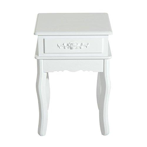 HOMCOM Mesa de Entrada Tipo Recibidor de Estilo Elegante o Mesita de Noche con 1 Cajón Color Blanco 40x35x60cm