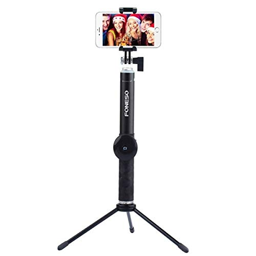 Selfie Stick Tripod with Bluetooth Remote for iPhone 6 6s 7 Plus Android Samsung Galaxy S7 S8 Plus Edge, Foneso 3 in 1 Pocket Extendable Aluminum Alloy Monopod, Support Photo & Video
