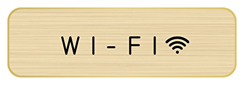 ドアプレート メタルプレート ドアサイン (WI-FI, Gold/Black) Hansmare Aluminum Door Sign シンプル トイレ オフィス 部屋 表札 高級感