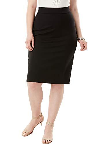 Roamans Women's Plus Size Ultimate Ponte Pencil Skirt - 28 W, Black