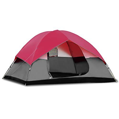 COSTWAY Campingzelt 5-6 Personen Familienzelt Kuppelzelt für Wandern, Camping im Freien, Wurfzelt Doppelschicht Winddichte Wasserabweisend 300x300x165cm