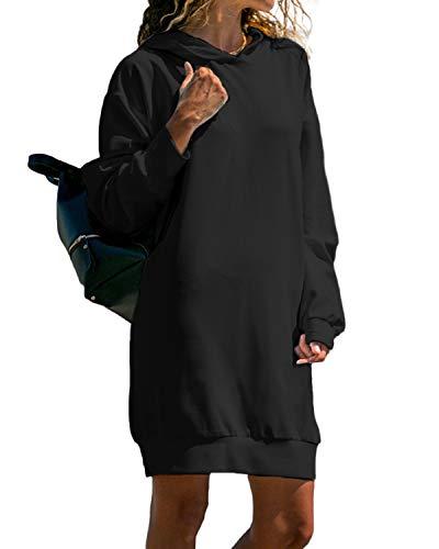 Kidsform Hoodie Damen Sweatshirt Kapuzenpullover Pulli Kleid Pullover Herbst Sweatjacke mit Tasche 1-schwarz L