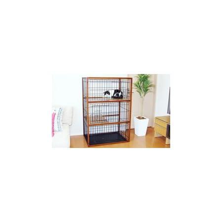 キャットケージ3段ブラウン シンプルタイプ(木製)猫ケージ 猫 ケージ ゲージ キャットタワー ペット