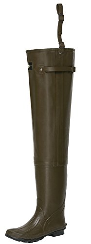 Yong Chao Men's Rubber Waders Hip Boots 2-ply Bootfoots Hip Fishing Hunting Waders (Brown)