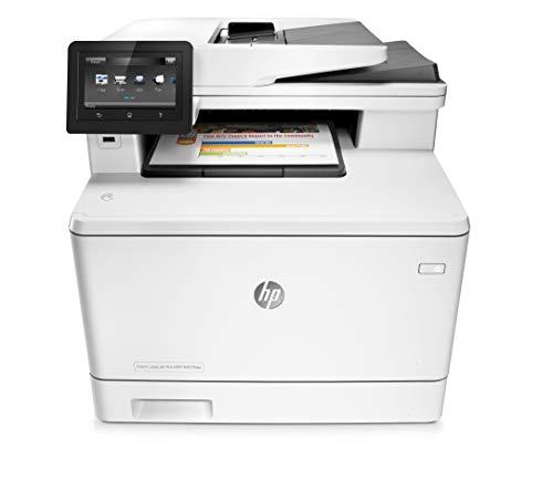 HP Color LaserJet Pro M477fdw Farblaserdrucker Multifunktionsgerät (Drucker, Scanner, Kopierer, Fax, WLAN, LAN, ePrint, Airpint, Duplex, NFC, USB, 600 x 600 dpi,24 Seiten/Min) weiß
