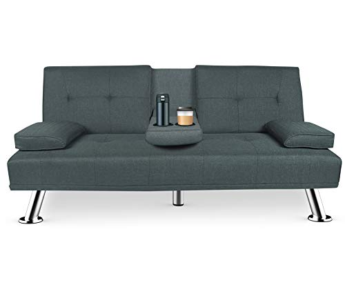 Aiscool Couch Modern Convertible Futon Sofa Bed Recliner Couch with Metal Legs+2 Cup Holders (Dark Grey)