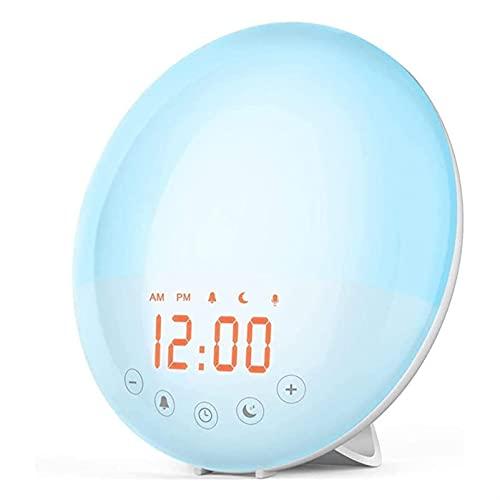 XTZJ Despertar el despertador de la luz, el reloj de alarma de la salida del sol con la simulación de la puesta del sol, la función de la noche de las alarmas duales, la lámpara de noche de la cama de