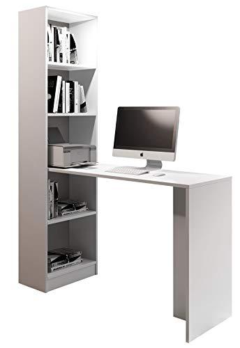 Mirjan24 Schreibtisch BeOne, Computertisch mit Regalen, Arbeitstisch, Schülerschreibtisch, Kinderschreibtisch, PC-Tisch, Kinderzimmer, Jugendzimmer (Weiß, ohne Lampe)