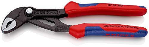 KNIPEX 87 02 180 Cobra® Hightech-Wasserpumpenzange grau atramentiert mit Mehrkomponenten-Hüllen 180 mm