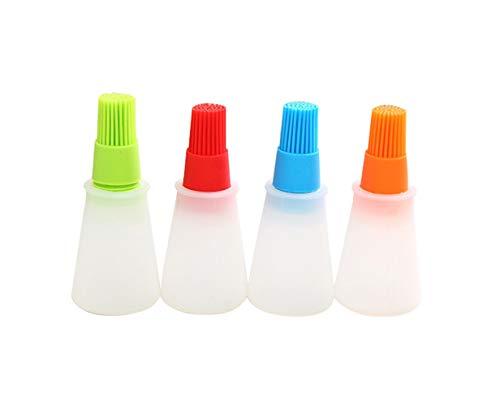 NYKKOLA 4 Pack Basting Brushes, Silicone Grill Barbecue Bakken Gebak Olie Honing Wijnsaus Fles Borstel met Dispenser