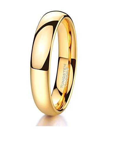 Crownal 1mm 2mm 3mm 4mm 5mm 6mm 7mm 8mm Tungsten White/Yellow Gold/Rose Gold/Black Wedding Band Ring Men Women Plain Dome Polished Comfort Fit Size 3 To 17