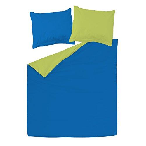 SoulBedroom Bleu foncé & Vert 100% Coton Parure de lit Réversible (Housse de Couette 240x220 cm & 2 Taies d'oreiller 65x65 cm)