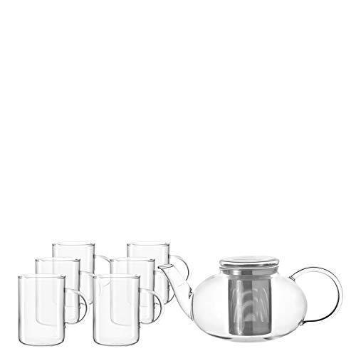 Leonardo Moon Tee-Set, Tee-Tasse und handgefertigte Tee-Kanne, Glas-Kanne mit Teesieb-Einsatz, 7er Set, 360 ml und 1400 ml, 032843