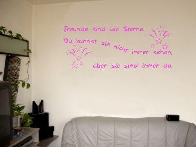 Wandtattoo / Wandaufkleber Zitat Freunde sind wie Sterne, …; Farbe Pink