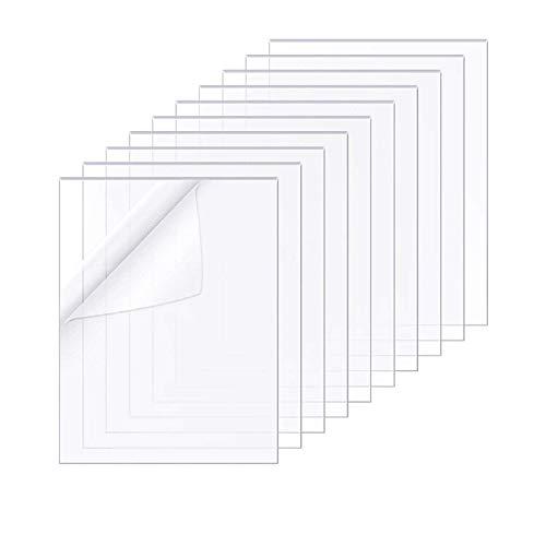 Acryl-Kunststoffplatten Set mit 10 Stück, klare Plexiglasscheiben 8 x 10 Zoll (200 x 250 mm), transparente Plexiglas-Platten mit Schutzfolie für Bilderrahmen-Glasersatz, Tischschilder, DIY Handwerk