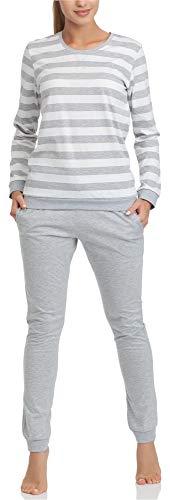 Cornette Pijama Conjunto Camiseta y Pantalones Ropa de Casa Mujer M4LL6 (Blanco/Melange, L)