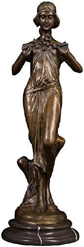 JLXQL Dekoration Desktop-Figur Skulpturen Schönes Mädchen Mit Blumenkunst Indoor Tischdekoration Bronzestatue Für Wohnzimmer Schlafzimmer Ornament Büro