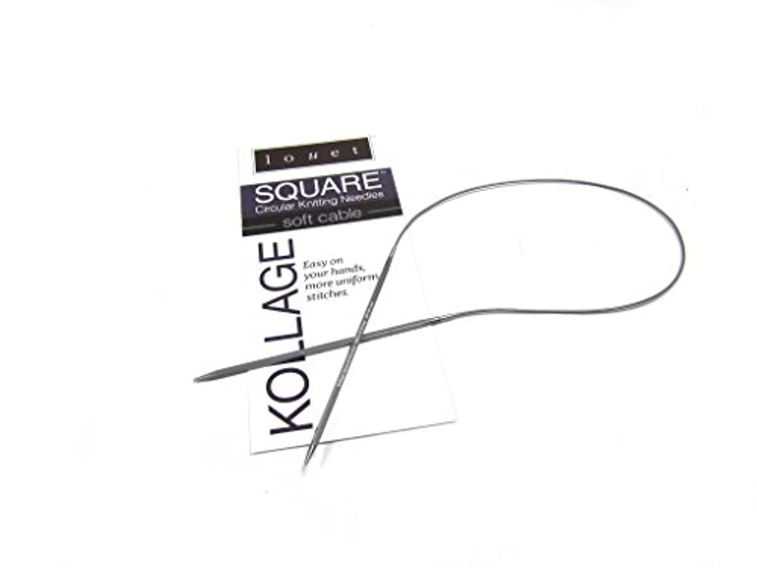 Kollage Square Circular 9-inch (23cm) Knitting Needle with Soft Cable (US 3 / 3.25mm)