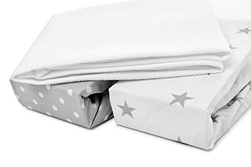 Chicco Next2Me and Lullago Crib Fitted Sheets x2 + Waterproof Mattress Protector x1, 100% Oeko-Tex Cotton,Set of 3, White Polka Dots and Grey Stars, Size 83 x 50 x 5 cm. Made in EU. GO ECO.