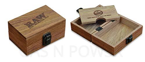 RAW - Bandejas para liar tabaco, esterillas y ceniceros WOODEN BOX SMOKERS GIFT SET Caja de madera para fumadores