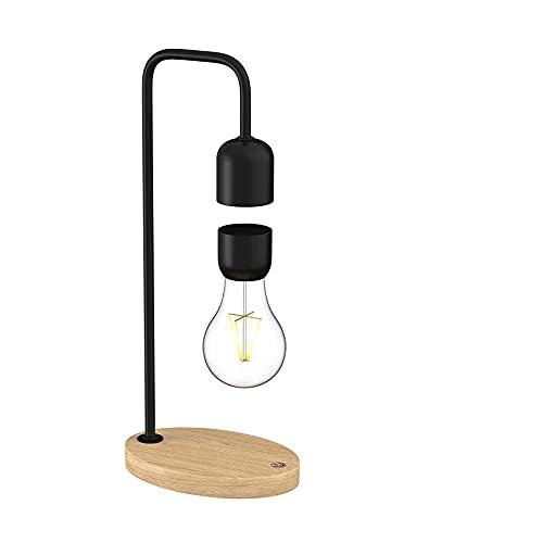 Floatidea Levitating Light Bulb Floating Lamp Magnetic Levitation Anti-Schwerkraft Wooden Black Base LED Night Light Magnet Rotating Table Lampen Turntable Desk Toys Office Gifts Home Gadgets
