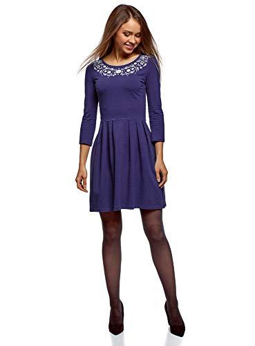 oodji Ultra Mujer Vestido de Punto Entallado, Azul, ES 36 / XS