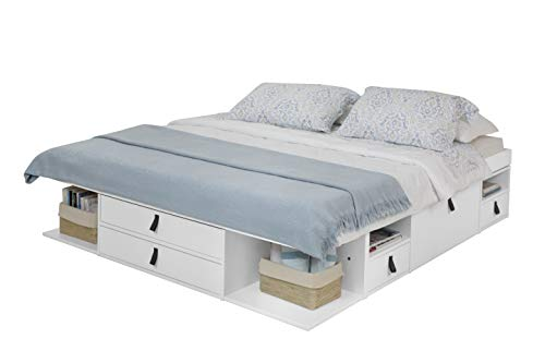 Cama Funcional Bali 180x200 cm Blanco - Estructura con Mucho Espacio de almacenaje y cajones, Ideal para dormitorios pequeños - Madera Maciza de Pino y MDF Lacado - Incl. somier de Madera