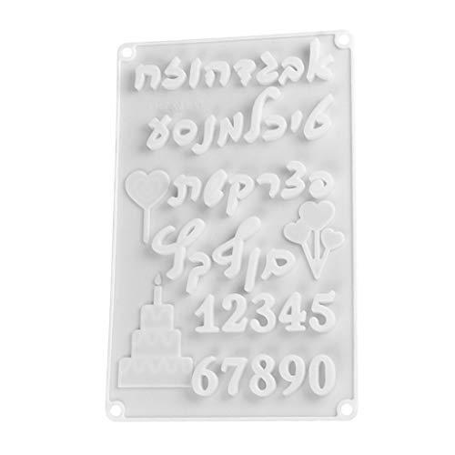 Tancyechy DIY símbolo Digital Molde de Pastel de Silicona Molde de Pastel para Hornear Letras hebreas Silicona M Molde de Pastel Mezclado