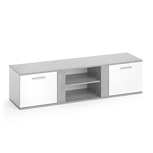 Vicco TV Lowboard NOVELLI Sideboard Weiß Fernsehschrank Fernsehtisch erhältlich in 3 Dekoren (Weiß/Beton)