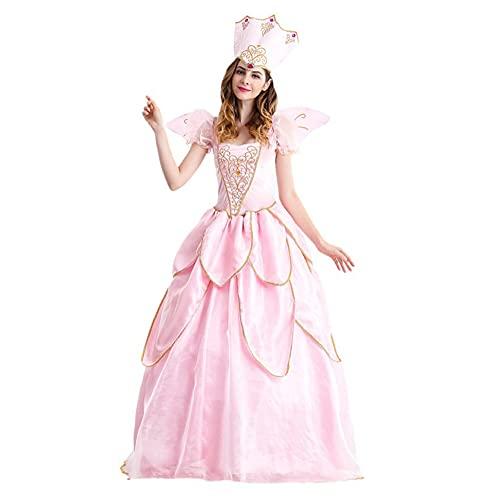 KAXI Disfraces De Halloween para Mujer Adultos Reina De Hadas Vestido De Princesa Fiesta Temática Nocturna Baile De Graduación Accesorios para Disfraces De Cosplay,Rosado,S