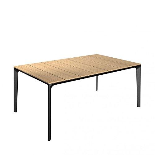 Carver tafel 170 x 99 cm - aluminium frame met poedercoating/plaat teak gepolijst