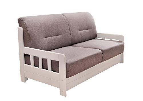 lifestyle4living Schlafsofa in Grau/Weiß zum Ausziehen mit 2 Liegeflächen   Microfaser/Massivholz/Federkern   Gemütliches Sofa mit Schlaffunktion im Landhausstil