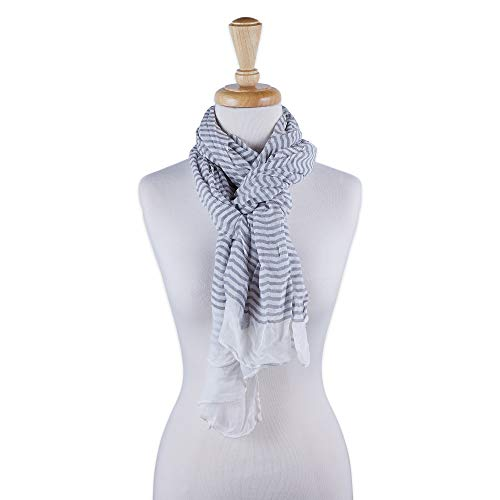 Tickled Pink Women's Lightweight Summer Insect Shield Scarf, Stripe Gray, One Size