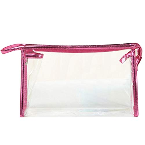 Cosmetic Organizer Bag Pouch, SUJING PVC Plastic Travel Cosmetic Bag with Zipper Clear Toiletry Makeup Bags, (Hot Pink)