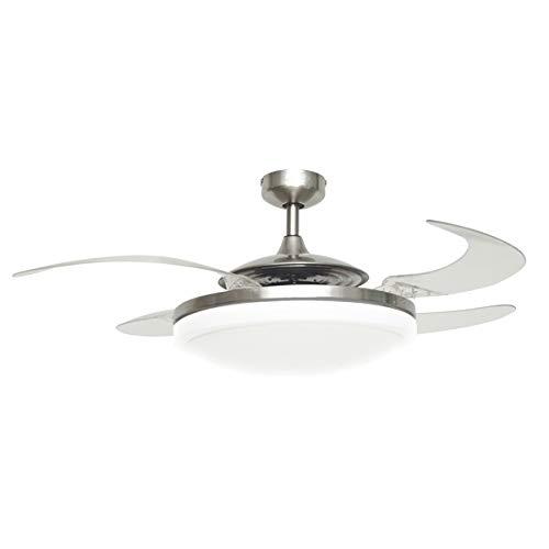 Fanaway EVO2 Plafondventilator, Endure inklapbare vleugels, inclusief afstandsbediening met licht modern 121 x 121 x 39.3 cm Chroom geborsteld