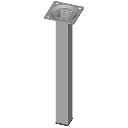 Element System 4 Stück Stahlrohrfüße eckig Tischbeine, Möbelfüße Inklusive Anschraubplatte, 4 Farben, 10 Abmessungen, 25 cm, weiß-aluminium, 18133-00297