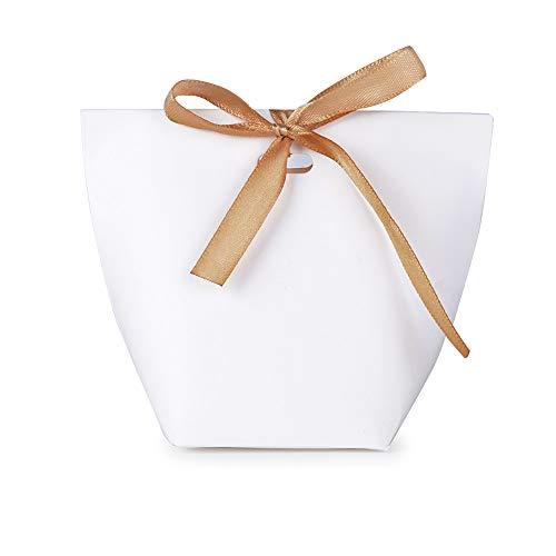 50pcs Cajas de Caramelos Regalo Dulces Bombomnes Galletas Blanco para Boda Bautizo Fiesta Navidad Cumpleaños con Cinta (Blanco)