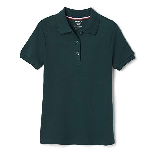 French Toast Girls' Big Short Sleeve Picot Collar Polo Shirt (Standard & Plus), Hunter Green, 14-16