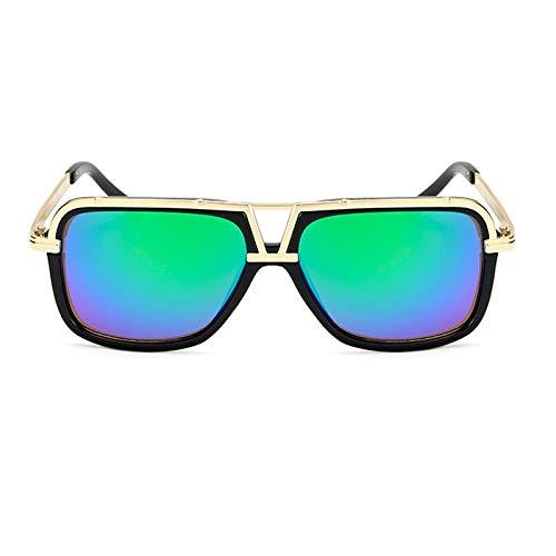 Gafas de sol vintage para mujer y hombre, forma cuadrada, con espejo, a la moda, para hombre, color negro y verde