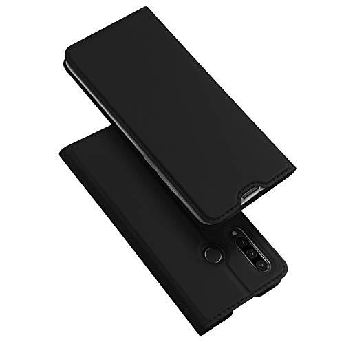 DUX DUCIS Hülle für Huawei P30 Lite, Leder Klappbar Handyhülle Schutzhülle Tasche Case mit [Kartenfach] [Standfunktion] [Magnetisch] für Huawei P30 Lite (Schwarz)