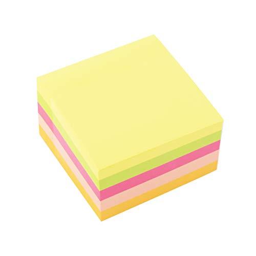 D.RECT 009261 Haftnotizwürfel Super Sticky Notes Selbstklebende Haftnotizzettel in 75x75mm 450 Blatt Neon