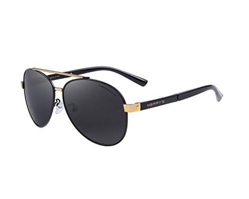 MERRY'S - Gafas de sol - para hombre Negro Oro y negro.