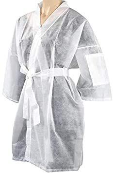 Kimono desechable de TNT blanco Bata estética con bolsillo y cinturón desechable para peluquería dividida, trabajo, higiene TNT, envasado individualmente 10 unidades